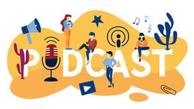 Podcast concept illustration. Podcast concept. Idea of audio broadcast. Podcasting in the internet or radio. Record sound using special equipment such as vector illustration