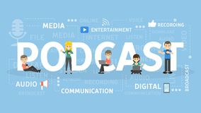 Podcast concept illustration. Idea of broadcasting and talking Stock Photos