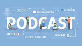 Podcast concept illustration. Idea of broadcasting and talking Stock Photo