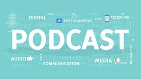 Podcast concept illustration. Idea of broadcasting and talking Royalty Free Stock Photos
