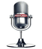 Podcast. 3D rendering of a microphone with a podcast icon