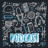 Podcast lettering with decoration. Vector design. Podcast dark banner with handwritten lettering and decoration. Poster template with text and symbols in doodle stock illustration