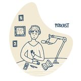 Podcast doodle concept. Vector color card design. Boy recording a podcast in a studio. Podcaster concept in doodle style. Vector stock illustration royalty free illustration