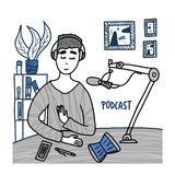 Podcast doodle concept. Vector color card design. Podcaster concept in doodle style. Boy recording a podcast in a studio. Vector stock illustration vector illustration