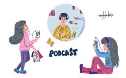 Podcast flat concept. Vector color card design. Podcast concept. Two teenager girls listening to a podcast and podcaster in a studio isolated on white royalty free illustration