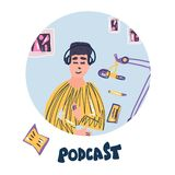 Podcast flat concept. Vector color card design. Young man recording a podcast in a studio. Podcaster round concept with lettering. Vector illustration royalty free illustration