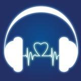 Podcast headphone logo. Logo for a podcast / Love for music vector illustration