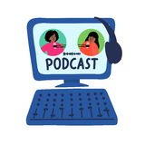 Podcast Holownicze afrykańskie kobiety opowiada mikrofony na ekranie ilustracja wektor
