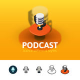 Podcast icon in different style Stock Photos