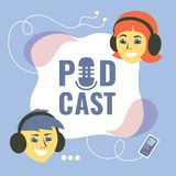 Podcast icon with girl and boy stock illustration