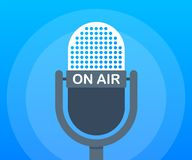 Podcast icon like on air live. Podcast. Badge, icon, stamp, logo. Radio broadcasting or streaming. Vector illustration. Podcast icon like on air live. Podcast stock illustration