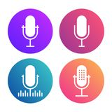 Microphone-icons copy. Podcast icon set. Colored studio table microphone with sound broadcast waves symbols. Webcast audio record concept logo Royalty Free Stock Image