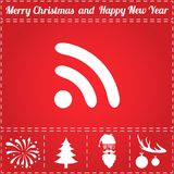 Podcast Icon Vector. And bonus symbol for New Year - Santa Claus, Christmas Tree, Firework, Balls on deer antlers Royalty Free Stock Image