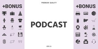 Podcast - icon for web and mobile app.  stock illustration