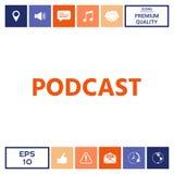 Podcast - icona per il web ed il cellulare app Fotografia Stock Libera da Diritti