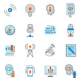 Podcast icons flat line set Stock Photos