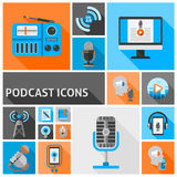 Podcast icons flat Stock Photography