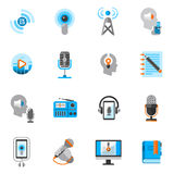 Podcast Icons Flat Set Royalty Free Stock Images
