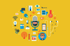 Podcast. Illustration of Podcast flat design concept with icons elements Royalty Free Stock Photo