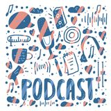 Podcast lettering with decoration. Vector design. Podcast banners template with handwritten lettering and decoration. Poster with text and symbols in flat style vector illustration