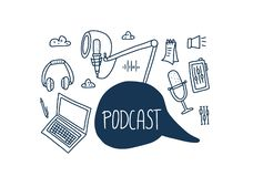 Podcast lettering with decoration. Vector design. Podcast emblem with handwritten lettering and decoration. Text and podcasts symbols isolated. Vector royalty free illustration