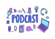Podcast lettering with decoration. Vector design. Podcast emblem with handwritten lettering and decoration. Text and podcasts symbols isolated on white stock illustration