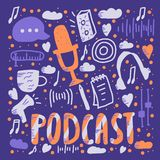 Podcast lettering with decoration. Vector design. Podcast screen with handwritten lettering and decoration. Poster with text and symbols in flat style. Vector stock illustration