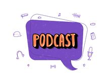 Podcast lettering with decoration. Vector design. Podcast screen with handwritten lettering, speech bubble and decoration. Poster with text and symbols in royalty free illustration