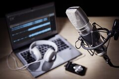 Free Podcast Microphone And Laptop Computer In Recording Studio Royalty Free Stock Image - 218932766