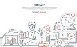 Podcast - modern line design style web banner. On white background with copy space for text. Composition with young man, presenter on air in the studio, live stock illustration