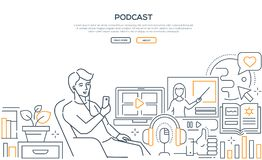 Podcast - modern line design style web banner. On white background with copy space for text. Quality header with a boy sitting in a chair, listening to a stock illustration