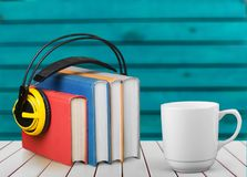 Podcast. Book audio music radio background school Stock Photo