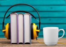 Podcast. Book audio music radio background school Royalty Free Stock Image