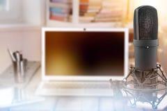 Podcast. Microphone digital mic studio air audio Stock Image
