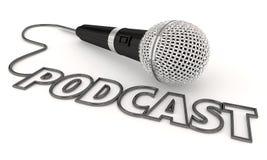 Podcast programa Mobilnego przedstawienia kartoteki Audio mikrofon 3d Illustratio ilustracja wektor