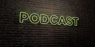 PODCAST -Realistic Neon Sign on Brick Wall background - 3D rendered royalty free stock image. Can be used for online banner ads and direct mailers stock illustration