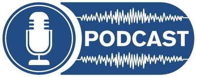 Podcast recording symbol with microphone and audio waveform. Vector illustration vector illustration