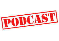 PODCAST. Red Rubber Stamp over a white background Stock Images
