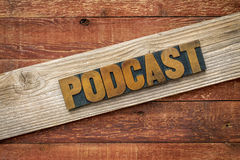 Podcast rustic sign in wood type Royalty Free Stock Photos