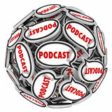 Podcast Speech Bubbles Sphere Audio Program Interview Mp3. Podcast word speech bubbles in ball or sphere to illustrate and audio program of interviews or sound vector illustration