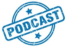 podcast stamp vector illustration
