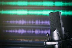 Podcast Studio. Microphone on stand. Music recording concept Royalty Free Stock Image