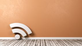 Podcast Symbol on Wooden Floor Against Wall. White Podcast RSS Feed Symbol Shape on Wooden Floor Against Orange Wall with Copyspace 3D Illustration royalty free illustration