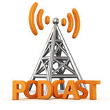 Podcast transmitter. Metal antenna symbol with word PODCAST on white stock illustration