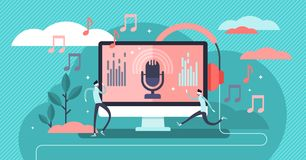Podcast vector illustration. Flat tiny e-radio talk show persons concept. stock illustration