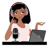 Podcast Woman. Woman with headphones and laptop royalty free illustration