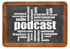 Podcast word cloud on blackboard Stock Images