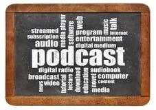 Podcast word cloud on blackboard. Podcast word cloud on a vintage blackboard - digital radio concept Stock Images