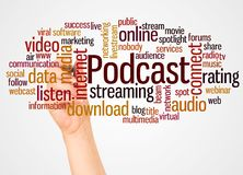 Podcast word cloud and hand with marker concept. On white background royalty free stock photography