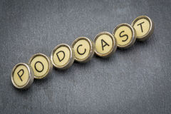 Podcast word in  typewriter keys Stock Photos